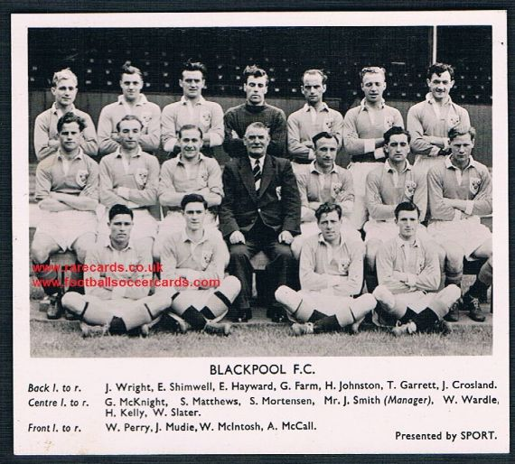 1951 Presented by SPORT Black white card of Blackpool plain back